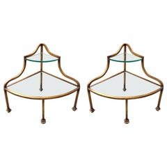 Pair of French Gilded Iron Corner Tables