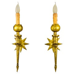 Pair of French Gilded Iron Sconces after Gilbert Poillerat