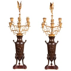 Pair of French Gilt and Patinated Bronze Six-Light Candelabra