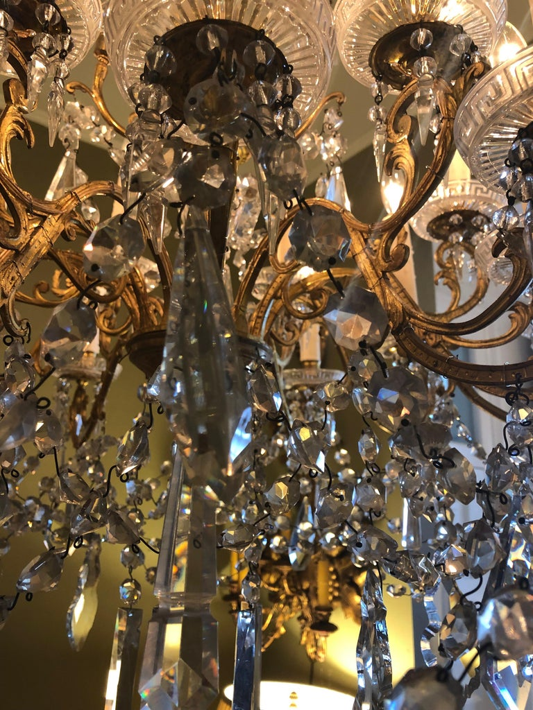 Pair of French Gilt Bronze and Baccarat Crystal Chandeliers In Good Condition For Sale In New Orleans, LA