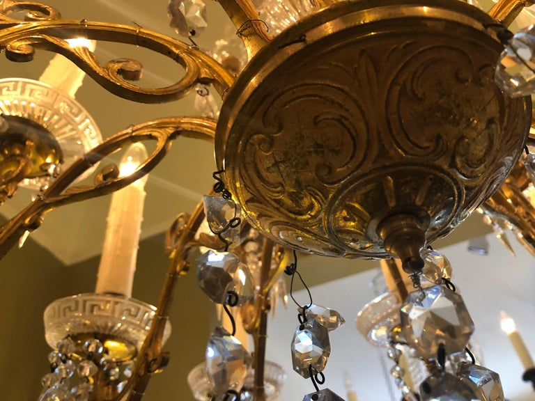 Late 18th Century Pair of French Gilt Bronze and Baccarat Crystal Chandeliers For Sale