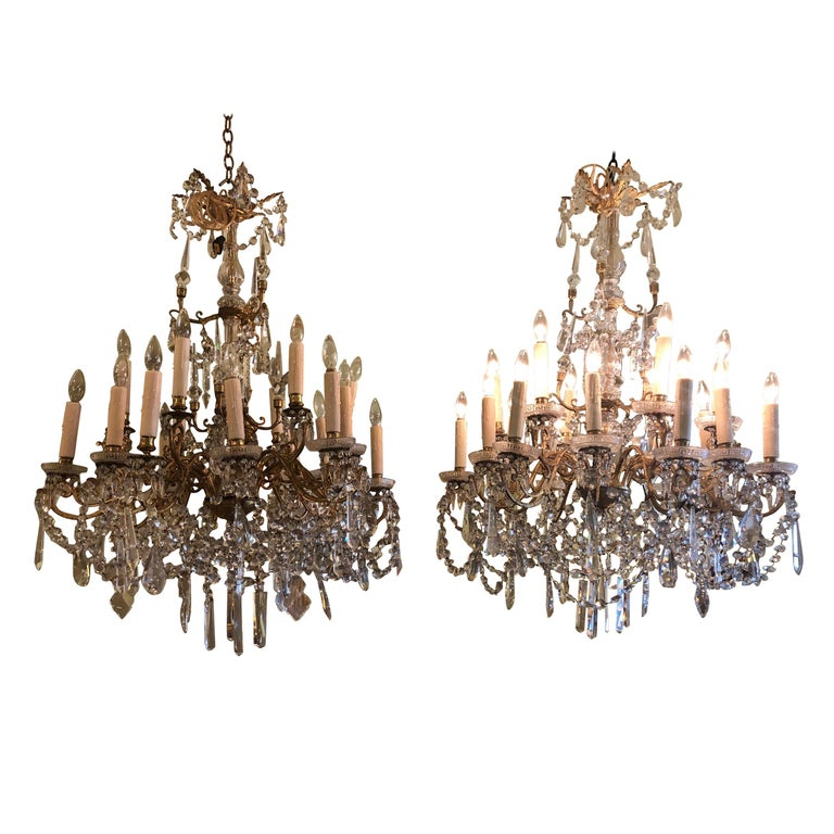 Pair of French Gilt Bronze and Baccarat Crystal Chandeliers For Sale