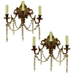 Pair of French Gilt Bronze and Cut-Glass Wall Lights