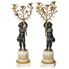 Pair of French Gilt-Bronze and Marble Figural Three-Light Candelabras