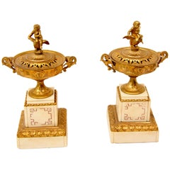Pair of French Gilt Bronze and Marble Urns