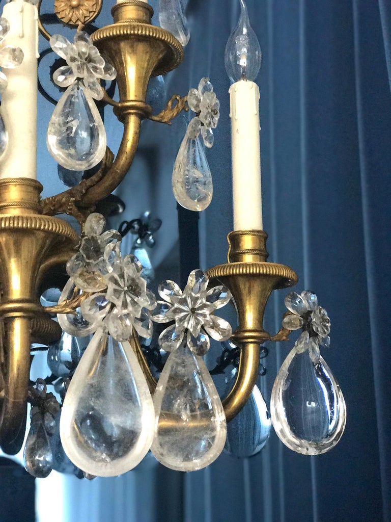 Pair of French Gilt Bronze and Rock Crystal Wall Lights or Sconces Neoclassical For Sale 7
