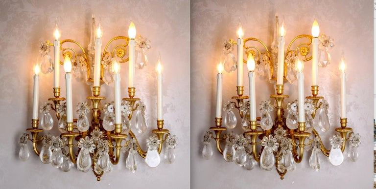 Pair of French Gilt Bronze and Rock Crystal Wall Lights or Sconces Neoclassical For Sale 16