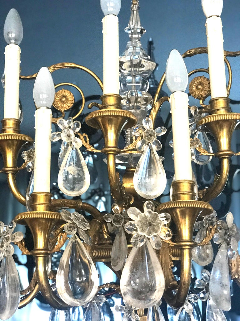 19th Century Pair of French Gilt Bronze and Rock Crystal Wall Lights or Sconces Neoclassical For Sale