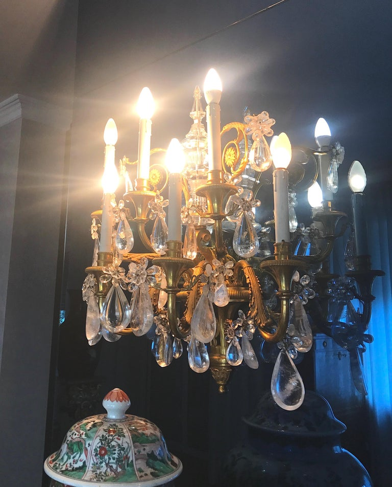 Pair of French Gilt Bronze and Rock Crystal Wall Lights or Sconces Neoclassical For Sale 3