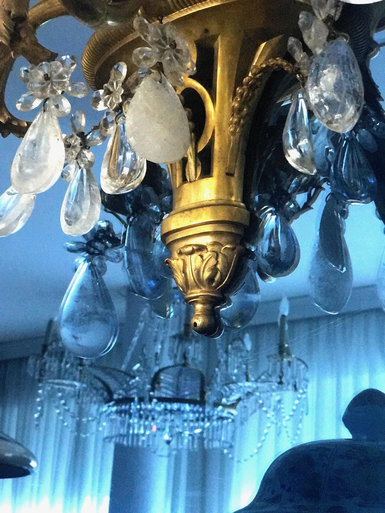 Pair of French Gilt Bronze and Rock Crystal Wall Lights or Sconces Neoclassical For Sale 4