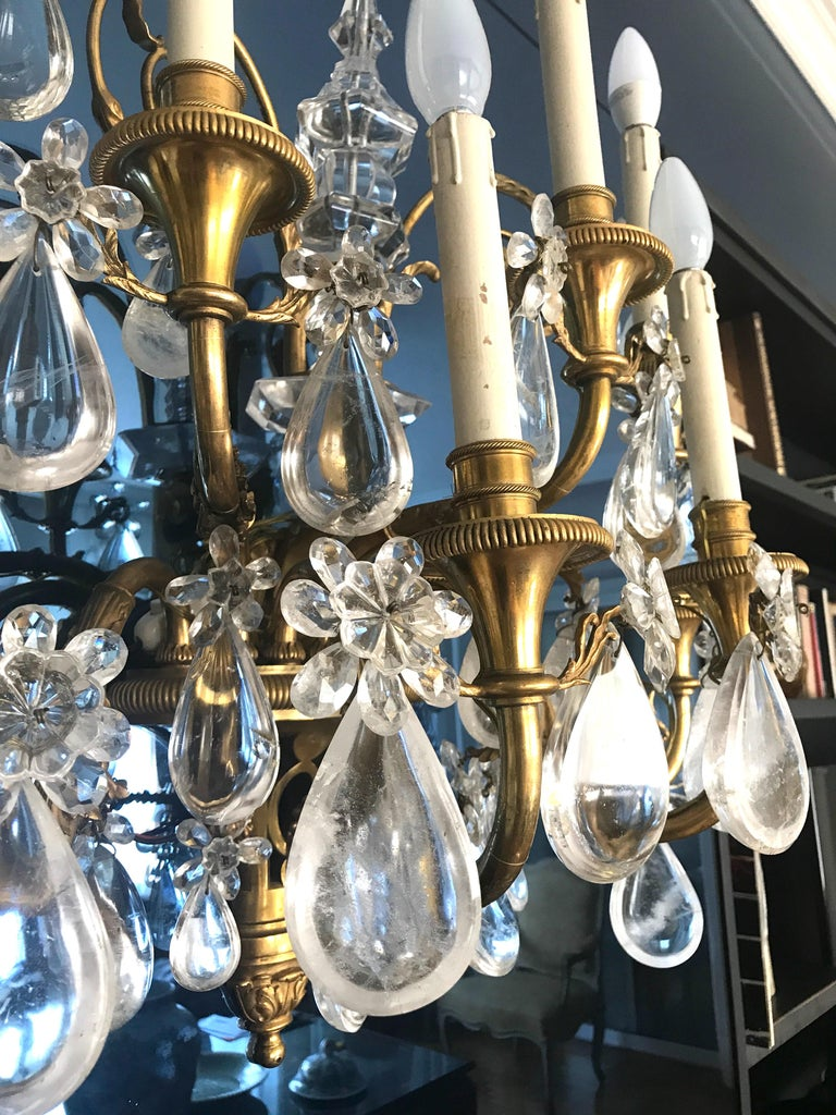Pair of French Gilt Bronze and Rock Crystal Wall Lights or Sconces Neoclassical For Sale 5