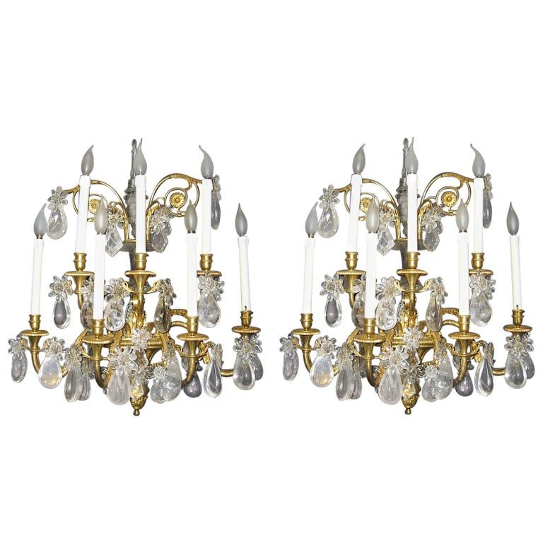 Pair of French Gilt Bronze and Rock Crystal Wall Lights or Sconces Neoclassical For Sale