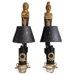 Pair of French Tole Gilt Bronze Figural Wall Sconces with Shades, Circa 1830