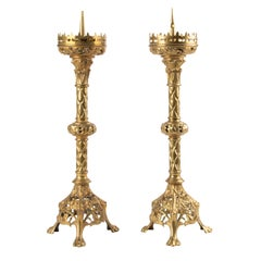 Pair of French Gilt Bronze Candlesticks Gothic Style, End 19th Century