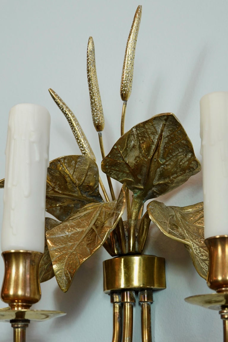 Pair of French Gilt-Bronze Cattail Sconces in the Style of Maison Charles For Sale 4