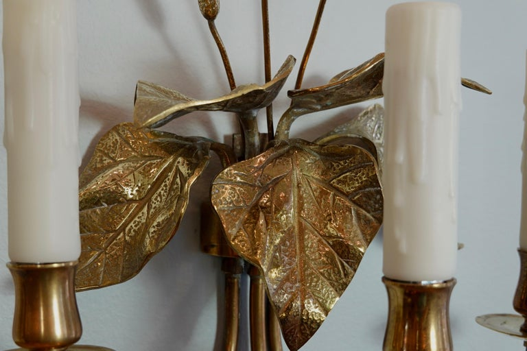 Pair of French Gilt-Bronze Cattail Sconces in the Style of Maison Charles For Sale 5