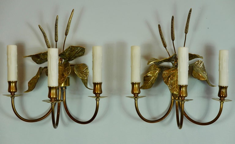Pair of French Gilt-Bronze Cattail Sconces in the Style of Maison Charles For Sale 6