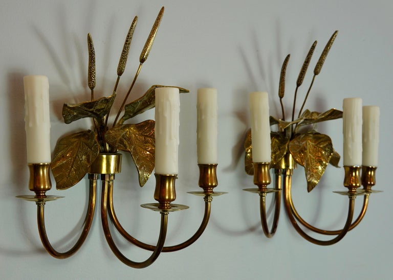 Pair of French Gilt-Bronze Cattail Sconces in the Style of Maison Charles For Sale 7