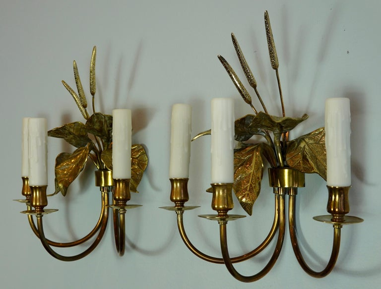 Pair of French Gilt-Bronze Cattail Sconces in the Style of Maison Charles For Sale 8