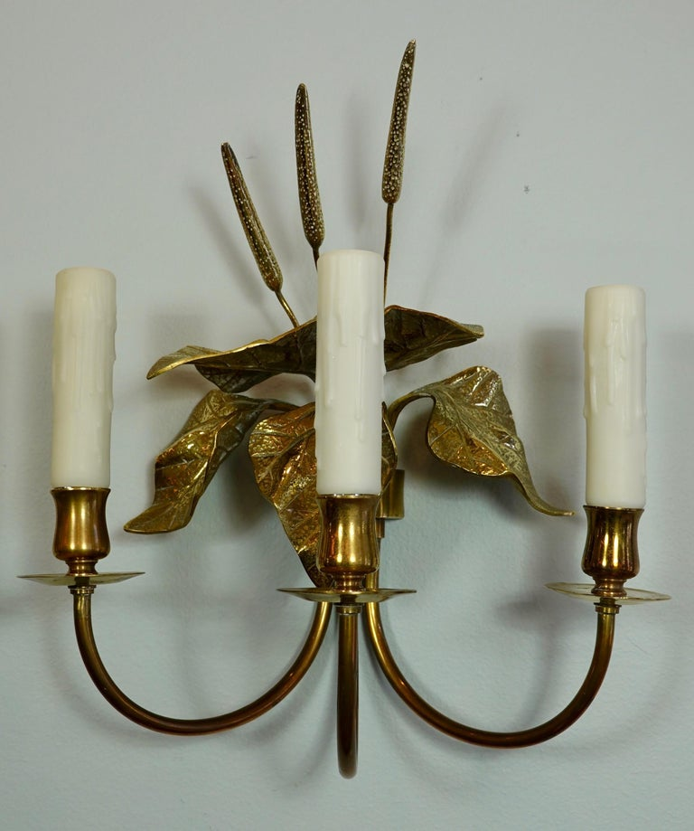Pair of French Gilt-Bronze Cattail Sconces in the Style of Maison Charles For Sale 10