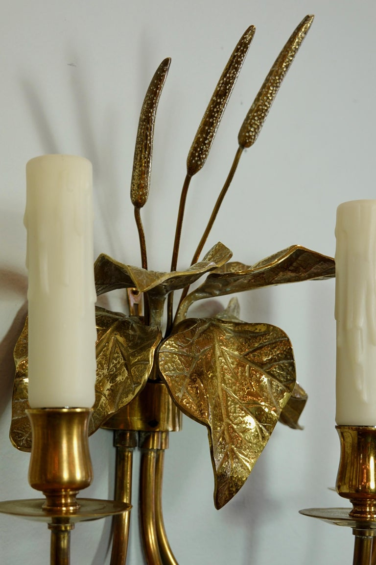 Brass Pair of French Gilt-Bronze Cattail Sconces in the Style of Maison Charles For Sale