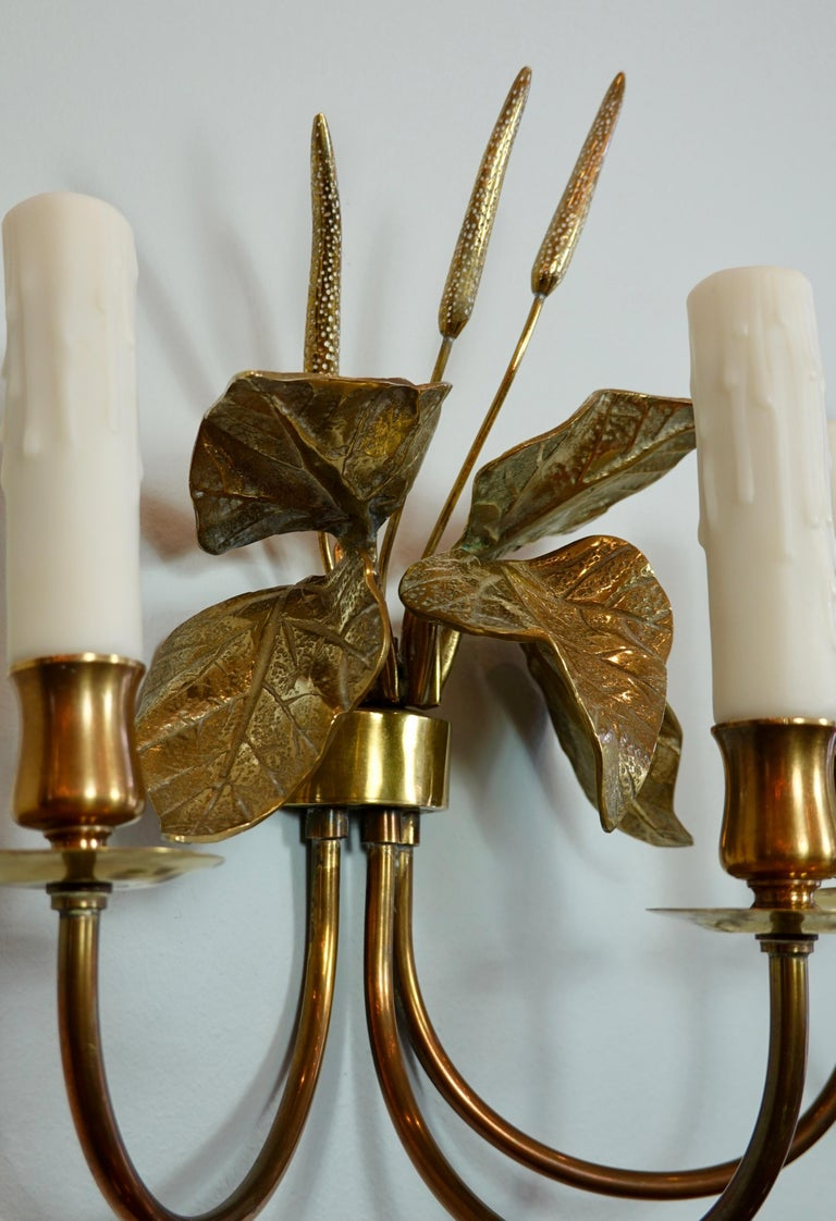 Pair of French Gilt-Bronze Cattail Sconces in the Style of Maison Charles For Sale 1