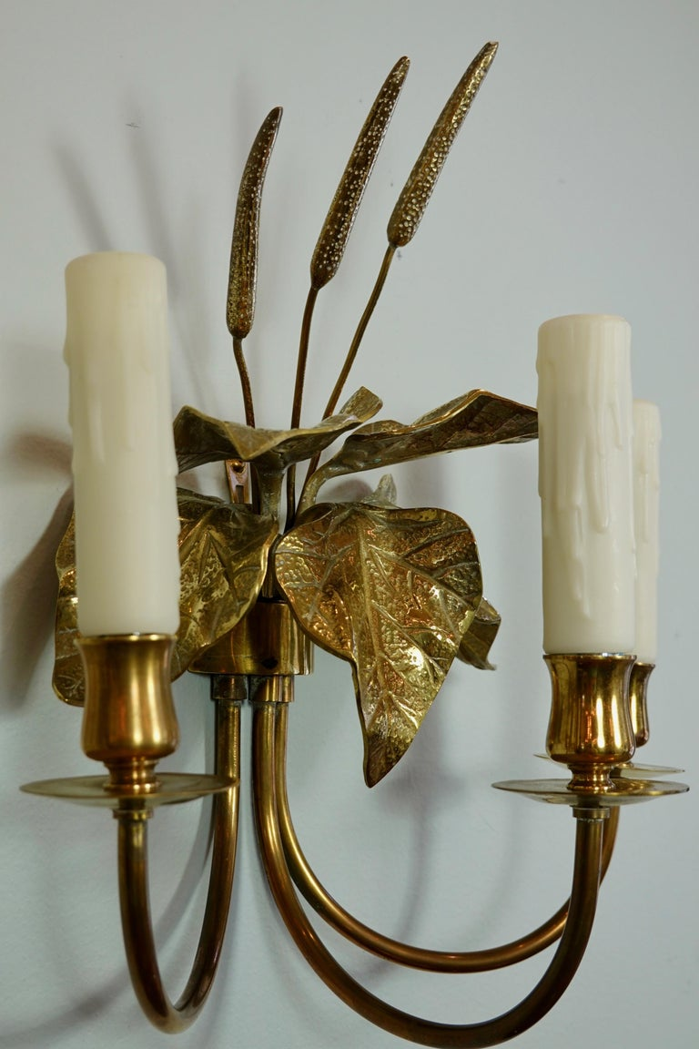 Pair of French Gilt-Bronze Cattail Sconces in the Style of Maison Charles For Sale 2