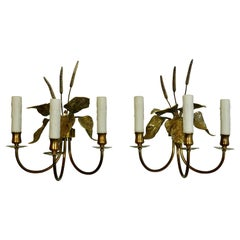 Pair of French Gilt-Bronze Cattail Sconces in the Style of Maison Charles