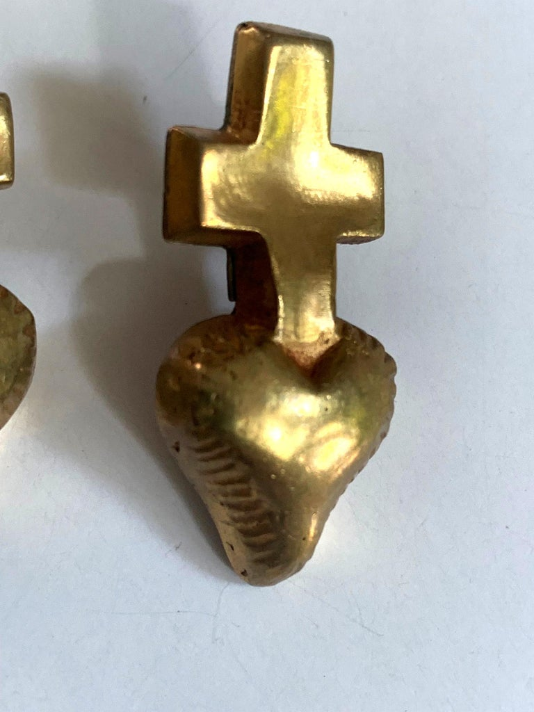 Pair of French Gilt Bronze Earrings by Line Vautrin In Good Condition For Sale In North Miami, FL