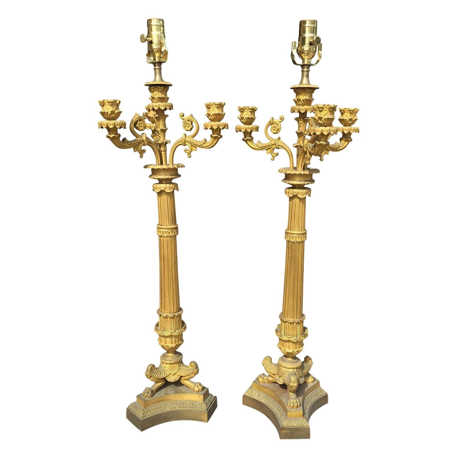 Pair of French Gilt Bronze Empire Candelabras as Lamps, circa 1810