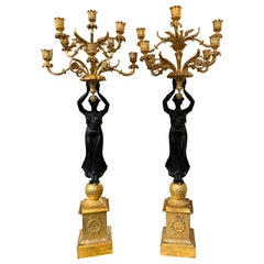 Pair of French Gilt Bronze Figural Candelabra