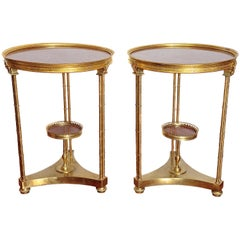 Pair of French Gilt Bronze Marble-Top Guéridons in the Style of Adam Weisweiler