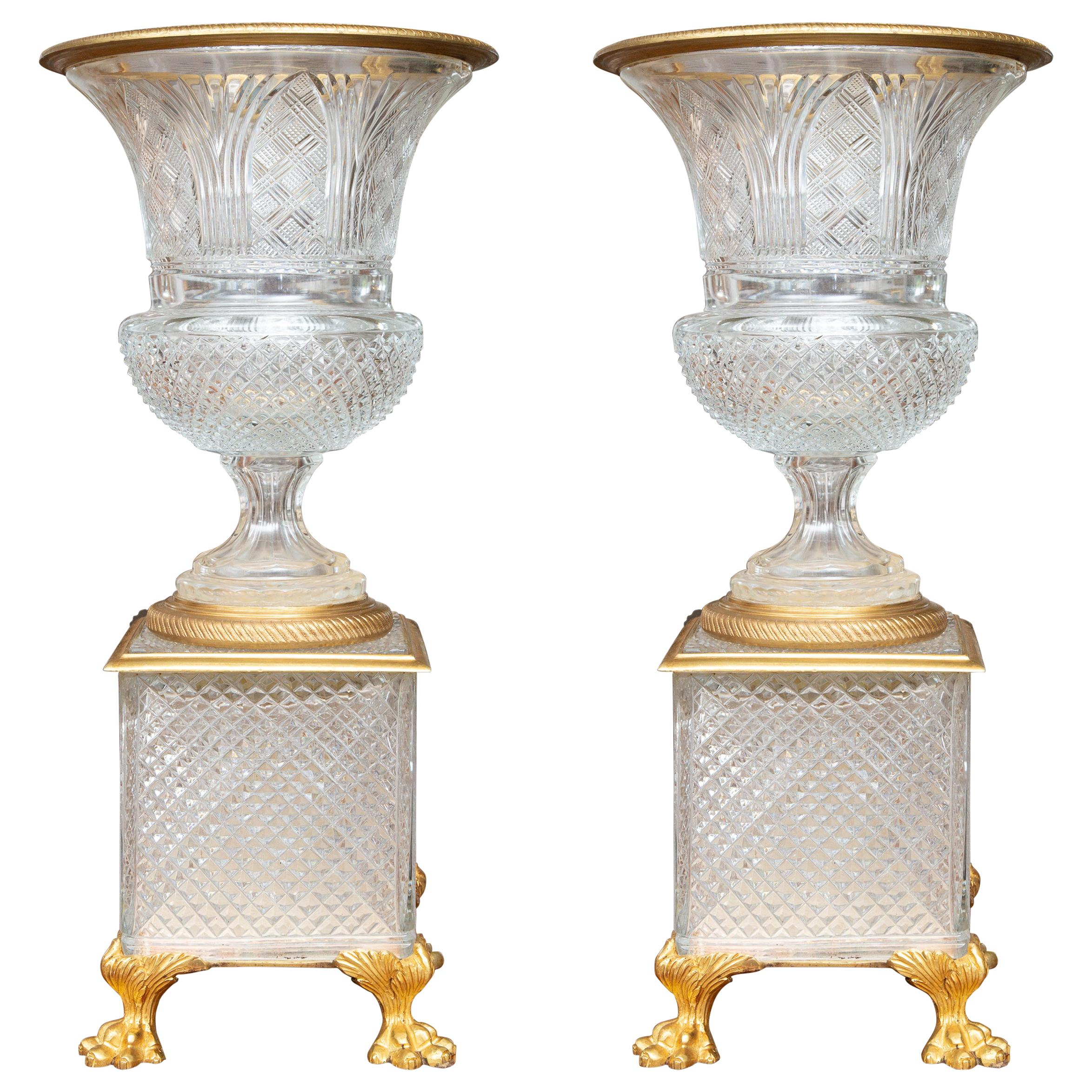 Pair of French Gilt Bronze Mounted Crystal Urns