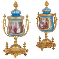 Pair of French Gilt Bronze Mounted Porcelain Vases