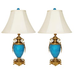 Pair of French Gilt Bronze-Mounted Turquoise Blue Porcelain Table Lamps
