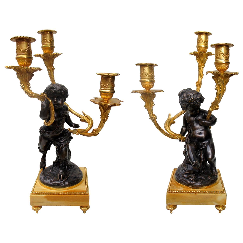 Pair of French Gilt Bronze Ormolu Sienna Marble Candelabra Clodion Grand Tour