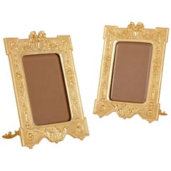 Pair of French Gilt Bronze Photograph Frames in the Neoclassical Style