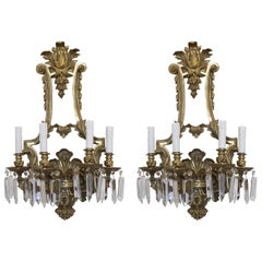 Pair of French Gilt Bronze Sconces with Crystals