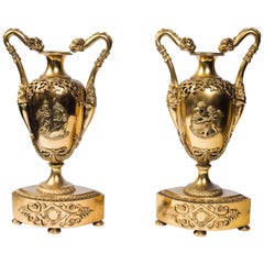 Pair of French Gilt Bronze Urns