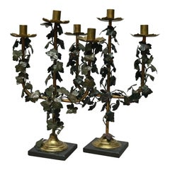 Pair of French Gilt and Bronzed Metal Figural Leaf 3-Light Candelabra circa 1900