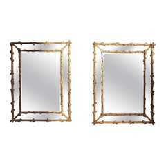 Pair of French Gilt Carved Wood Foliage and Acorn Motif Wall Mirrors, C. 1840