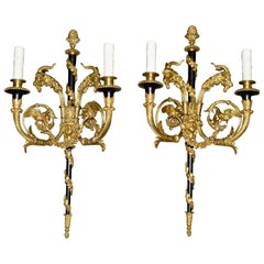 Pair of French Gilt and Enameled Bronze Two-Light Sconces signed Millet a Paris