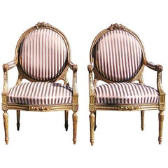 Pair of French Gilt Floral Arm Chairs, Circa 1850
