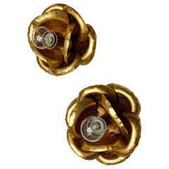 Pair of French Gilt Flower Wall / Ceiling Lights, circa 1970s