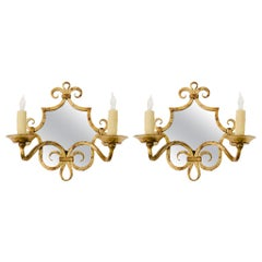 Pair of French Gilt Iron Mirror Sconces