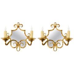 Pair of French Gilt Iron Mirror Sconces