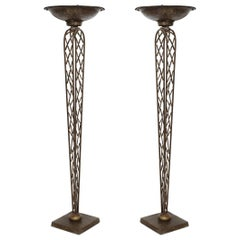 Pair of French Gilt Iron Torchieres