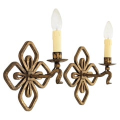 Pair of French Gilt Iron Wall Lights with Fleur de Lis Design