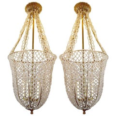 Pair of French Gilt Lanterns with Crystals