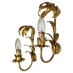 Pair of French Gilt Leaf Wall Lights 1960's